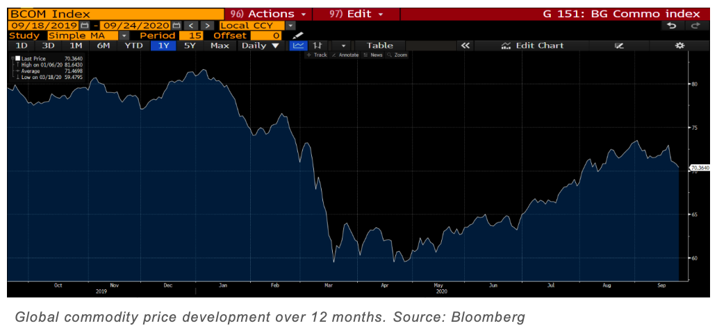 Global commodity price development over 12 months. Source: Bloomberg